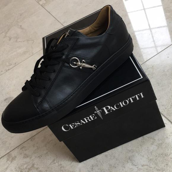 Cesare Paciotti Mens Black Leather Made